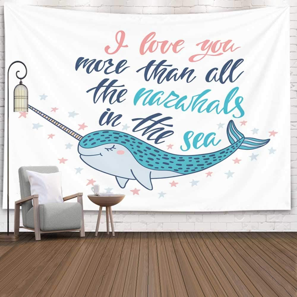 Pamime Home Decor Tapestry for Christmas I Love You More Than All The Narwhals in The sea Wall Tapestry Hanging Tapestries for Dorm Room Bedroom Living Room (60x80 Inches(150x200cm) Tapestry