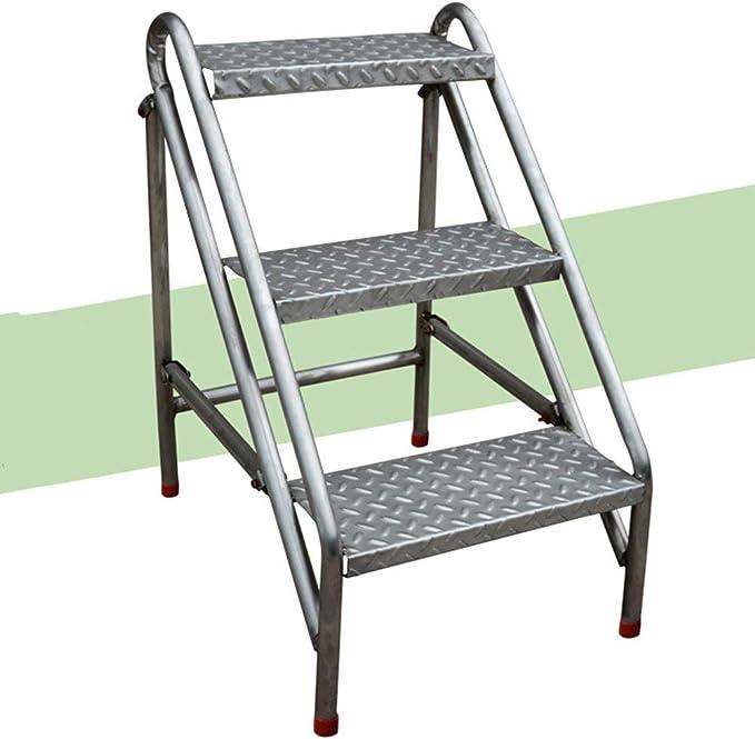 QQXX Taburete de 3 peldaños Taburete de peldaño, Escalera Plegable de Acero Inoxidable Taburete Escalera Alta de Metal en Espiga Simple portátil Subir: Amazon.es: Hogar