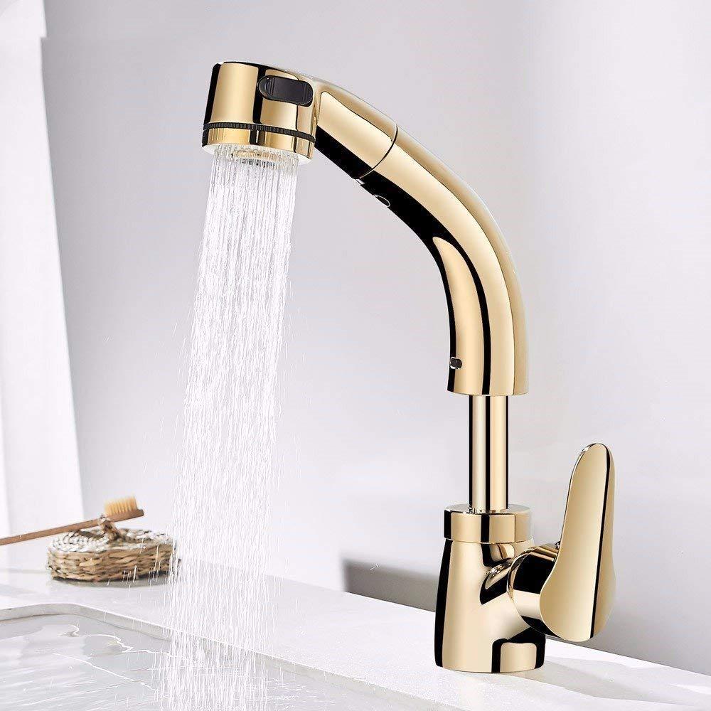 Eeayyygch Wasserhahn Ausziehbecken Warm und Kaltgelb Wasserhahn, kann angehoben Werden und Shampoo Teleskop-Rotation (Farbe   -, Größe   -)