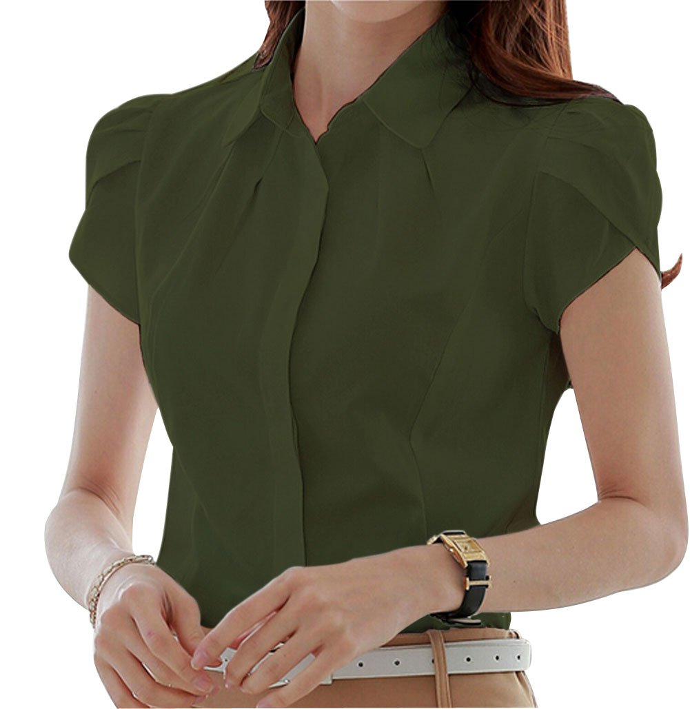 Double Plus Open Women's Cotton Collared Button Down Shirt Short Sleeve Pleated Blouse Army Green 12 by Double Plus Open (Image #1)