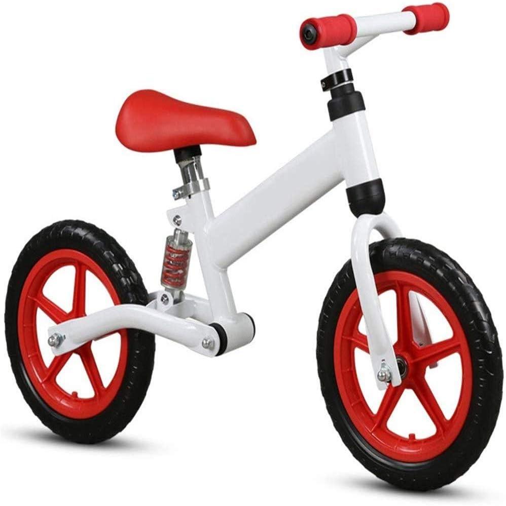 AJH Neumáticos niños Bicicleta de Equilibrio de Peso Ligero Balance de la Bici con amortiguación de Aire Libre Antideslizante Manillar sin Pedal de Empuje Que Caminan del Deporte de la Bicicleta,E