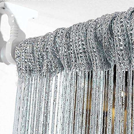 Champagne E-STRINGC-CHAM Eyotool 3x3 M Door String Curtain Rare Flat Silver Ribbon Thread Fringe Window Panel Room Divider Cute Strip Tassel for Wedding Coffee House Restaurant Parts