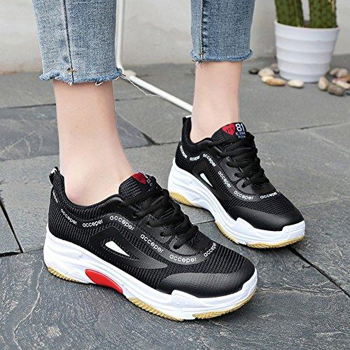 Color Mujer Zapatos y 38 Señoras de Zapatillas Primavera de tamaño de Negro otoño Zapatillas Verano Deportivas Cordones Deportivos xU1Ufw