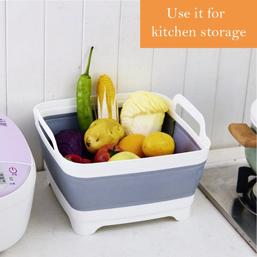 Dish Tub, Yummy Sam Foldable Food Strainers Collapsible Dish Tub DishPan Colander Over the Sink Dish Drainer Strainer, Fruits Drainer Basket Vegetable Sink Colander Draining Basket by Yummy Sam (Image #4)