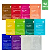 DERMAL Color Facial Essence Mask Sheet 25g Pack of 12 - Nutritious Ingredients Moisturizing Facial Mask Sheet Combo Set…