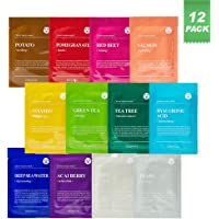 DERMAL Color Facial Essence Mask Sheet 25g Pack of 12 - Nutritious Ingredients Moisturizing Facial Mask Sheet Combo Set…