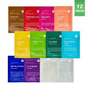DERMAL Color Facial Essence Mask Sheet 25g Pack of 12 - Nutritious Ingredients Moisturizing Facial Mask Sheet Combo Set, 100% Natural Sheet, Water Type Refreshing Essence, Quick Absorption