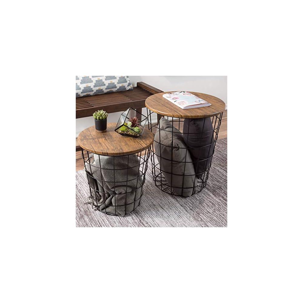 Lavish Home 80-ENDTBL-2 (Set of 2) Nesting End Storage Convertible Round Metal Basket Wood Veneer Top Accent Side Tables…