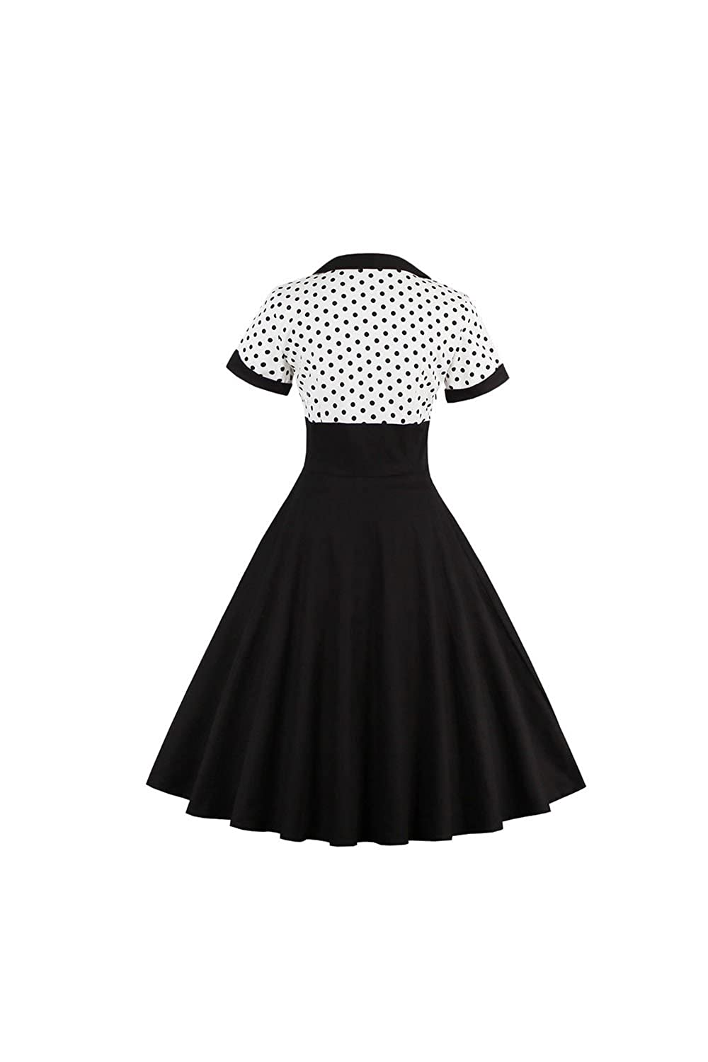 cfdd6ed81f65 Moonpin Women's Vintage 1940s Polka Dot Tunic Midi Fit and Flare Dress:  Amazon.co.uk: Clothing