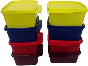Tupin Tupperware Keep Tab Set of 8 Plastic Container Set (Multicolour, 500 Ml)