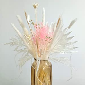 Natural Dried Pampas and Bunny Tail Grass, Dried Flower Bouquet for Home Decor (A Type)