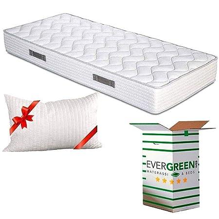Evergreenweb - Colchones individual 80x190 Espuma de 20 cm de altura para Cama simple - Transpirable y máximo Confort - color blanco - Con cojín de ...