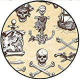 "Short Plush Baby Crawling mats Pirates Theme Design with Ship and Crossbones Skull Figures Gun Freebooter Concept Beige Yellow Floor playmats Children's Room 43.3"" x 43.3"" Round"