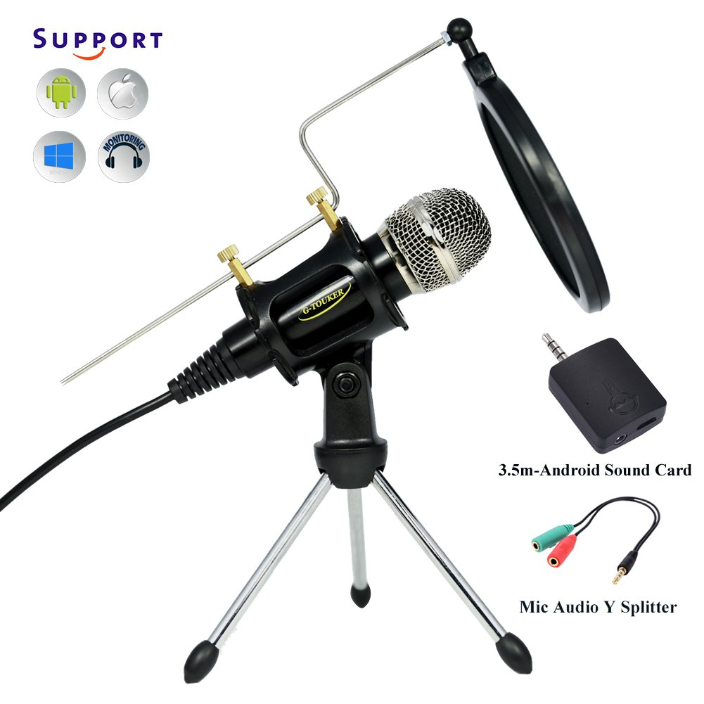 G-Touker Multi Condenser iphone Microphones, recording mic for pc/laptop, Include Android 3.5m Sound Card mic & Tripod Stand with pop filter and shock mount for singing, video, games,chating (black)
