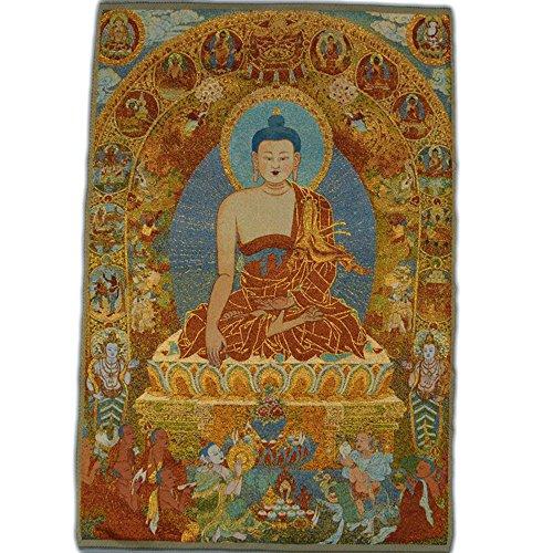 Xinshidai Tibetan Buddhist Thangka Fine Silk Embroidery Painting Tapestry 90cm 60cm (9060cm)