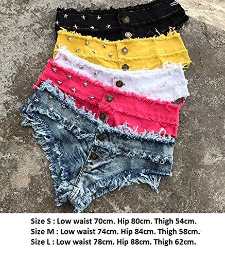 donne Pantaloncini mini jeans in bicchierini di con bassa per risvolti di Mini vita le jeans denim sexy XZP jeans Yellow di jeans nappe pantaloncini con Pantaloncini di a con denim Hzfwwgx1