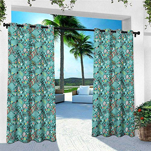 (leinuoyi Surfboard, Sun Zero Outdoor Curtains, Tropical Composition Cocktail Ice Cream Floral Elements and Lettering, Outdoor Privacy Porch Curtains W96 x L96 Inch Turquoise Multicolor)