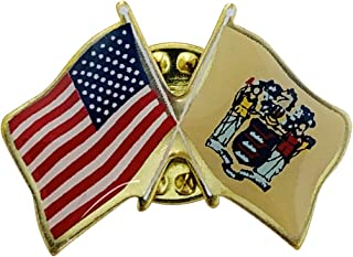 product image for Gettysburg Flag Works Set of 24 New Jersey & U.S. Crossed Flags Double Waving Friendship Lapel Pin - Made in The USA