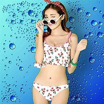 099d171171f Amazon | 水着レディース 2点セット かわいい さくらんぼ mizugi セクシー ホルターネック ワイヤービキニ 水着通販 安い 女の子  ホワイト | ビキニ・セパレーツ 通販