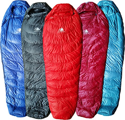 Hyke & Byke Ultralight Mummy Down Sleeping Bag: 3 Season 32 Degree Mummy Down Bag Under 2 LBS - Lightest, Bag for Thru Hiking, Backpacking, and Camping (Red, Regular) (Sleeping Womens Down Bag)