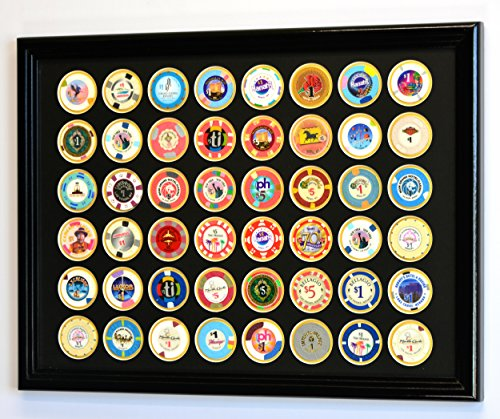 (48 Casino Chip Coin Frame Display Case with Custom Colored Matting Insert (Black Wood Frame, Black/Gold Matting))