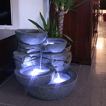 Gartenbrunnen Mit Beleuchtung | Amazon De Arnusa Zimmerbrunnen Mit Led Beleuchtung Innen Und Aussen