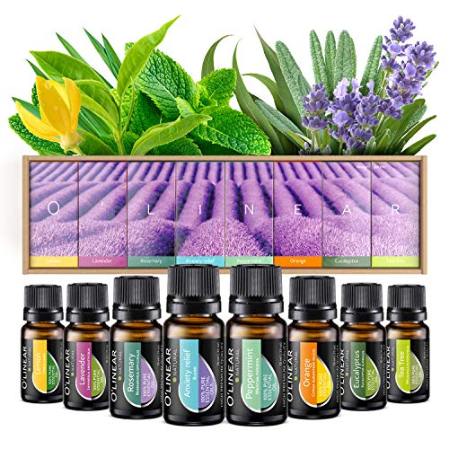 Essential Oils Set TOP 8 - Therapeutic Grade Aromatherapy Essential Oils - Pure and Natural - Lavender, Peppermint, Rosemary, Orange, Tea Tree, Eucalyptus, Lemon, Anxiety Relief - Blend Kit