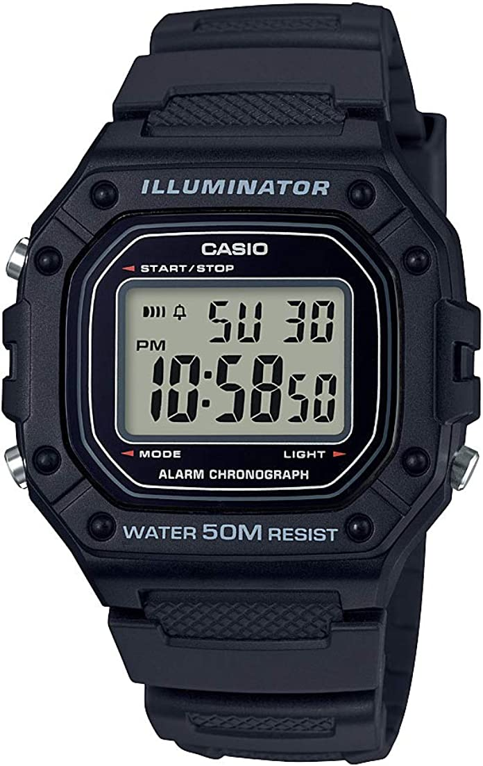 Casio Men s Classic Stainless Steel Quartz Watch with Resin Strap, Black, 21.1 Model W-218H-1AVCF