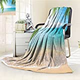 YOYI-HOME Digital Printing Duplex Printed Blanket Tourism and Thailand Relaxation Holiday Photos Print Accessories Turquoise Ecru Summer Quilt Comforter /W47 x H79