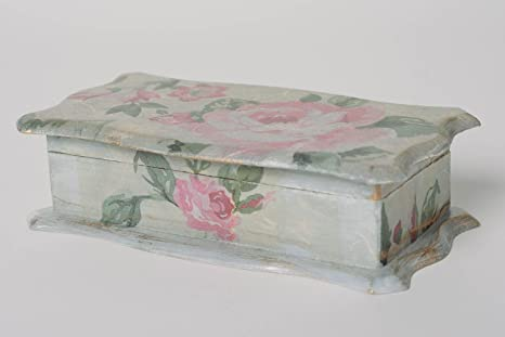 Funda rígida para bisutería hecha a mano caja de madera con técnica de decoupage Rosas vintage