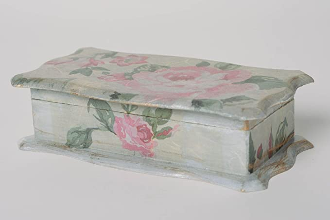 Caja de madera hecha a mano en tecnica de decoupage Rosas vintage: Amazon.es: Hogar