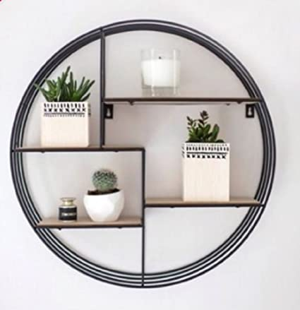 free shipping 167c1 73f0b Industrial Design Metal Circle Wooden Shelf Unit With Unique Design Shelving