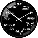VIKMARI 12 Inch Math Style Decorative Wall Clocks Glass Round Teaching Wall Clock Battery Operated Quartz Silent Non…