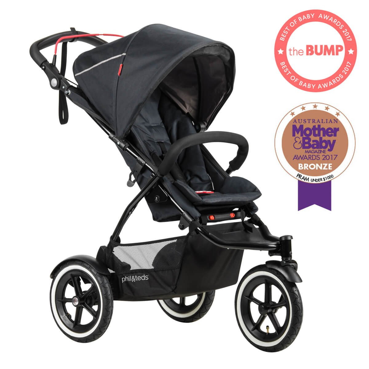 phil&teds Sport All Terrain Inline Stroller with Double Kit, Black - Auto Stop Safety Brake - All Terrain Air Tires - Adapts to Take One or Two Children - Travel System Ready with One or Two Carseats by phil&teds