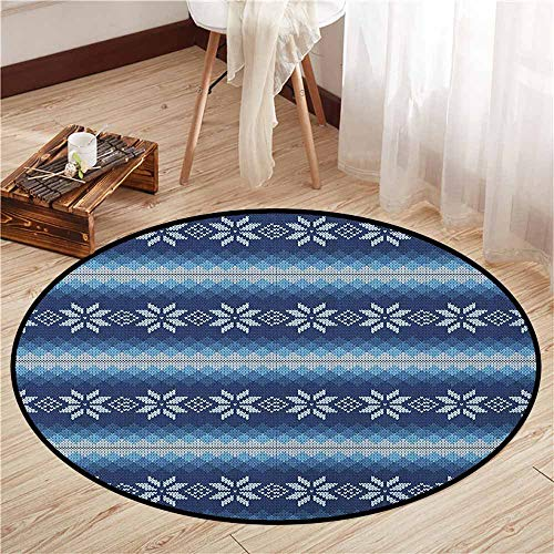(Indoor/Outdoor Round Rugs,Winter,Traditional Scandinavian Needlework Inspired Pattern Jacquard Flakes Knitting Theme,Rustic Home Decor,4'11