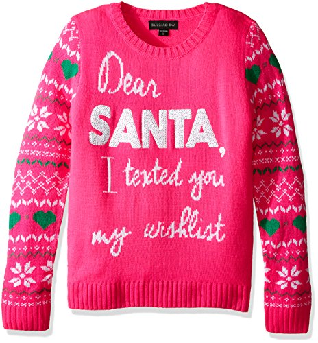 Blizzard Bay Big Girls' Dear Santa I Text Xmas Sweater, Pink Combo, M (Kids Ugly Christmas Sweater)