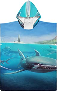 Lajro Towel Robe Hooded Hungry Shark World X iOS Android Shark Poncho Towel Surf Hooded for Bath/Shower/Pool/Swim 1-7 Years Old Kids Bath Robe