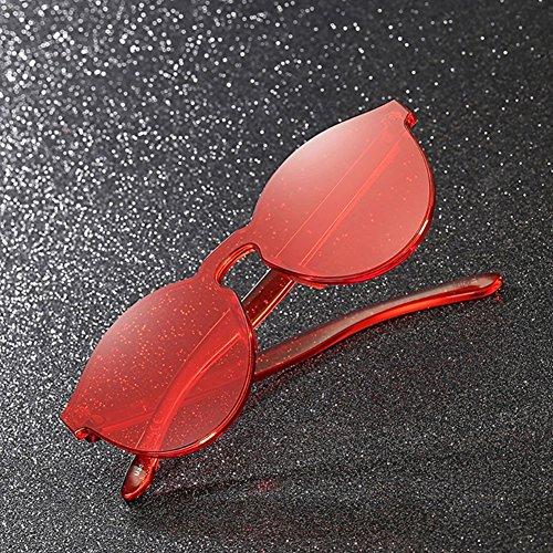 sans Monture soleil de Lunettes Rond cadre Super coloré Transparent Retro Rouge Wonderfulhony pw5dfqg1q