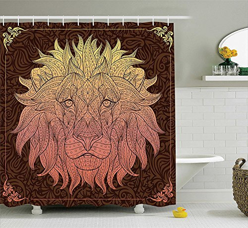 [Safari Decor Shower Curtain Set Patterned Ornate Lion Head With Digital Featuring TotemAsian Zoo Wild Boho Home Decor Bathroom Accessories Yellow] (Mounted Animal Head Costume)
