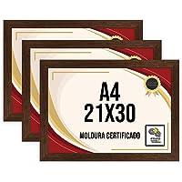 Kit 3 Porta Certificados 21x30 Moldura A4 para Certificado Foto Parede Ypê