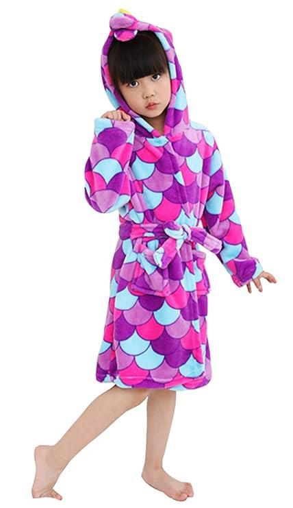 Woneart Niños Niña Albornoz Infantiles Camisones Novedad Disfraz de Peluche Unicornio Ropa De Dormir con Capucha Batas Loungewear Costume Halloween ...