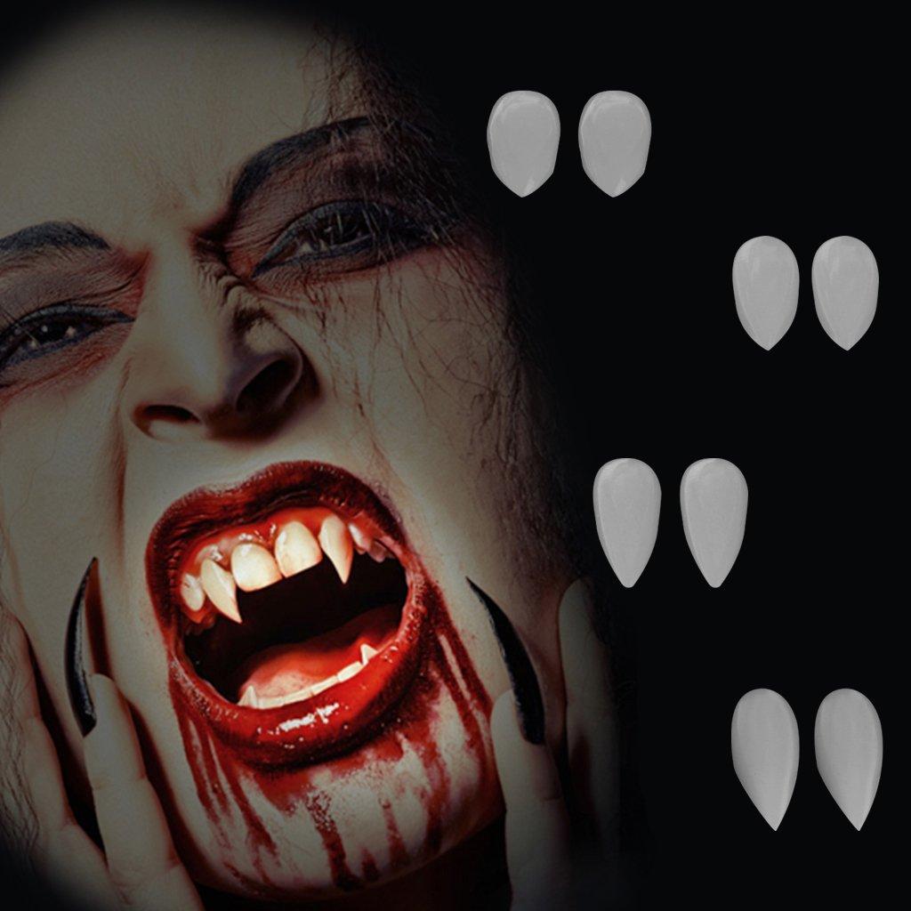 Hacloser 2Pcs/set Vampire Dentures Teeth, Halloween Costume Party Cosplay Fangs Props Zombie (13mm(0.51inch))
