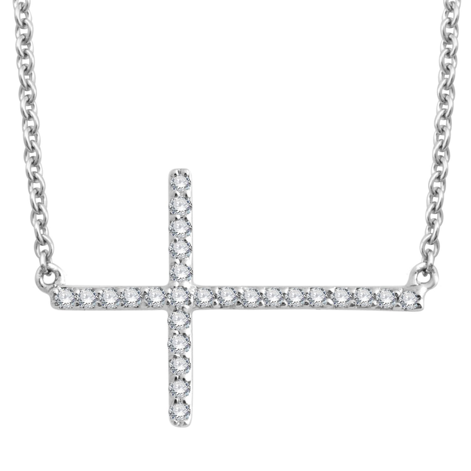 925 Sterling Silver Sideway Cross Diamond Pendant Necklace (0.09 carat)