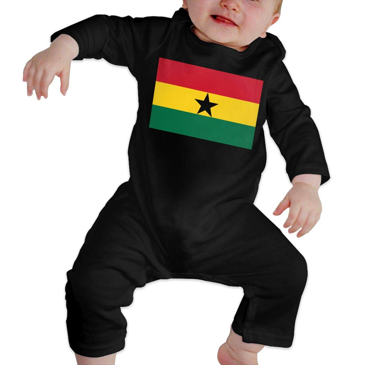 Soft Ghana Flag Sleepwear U99oi-9 Long Sleeve Cotton Bodysuit for Baby Boys and Girls