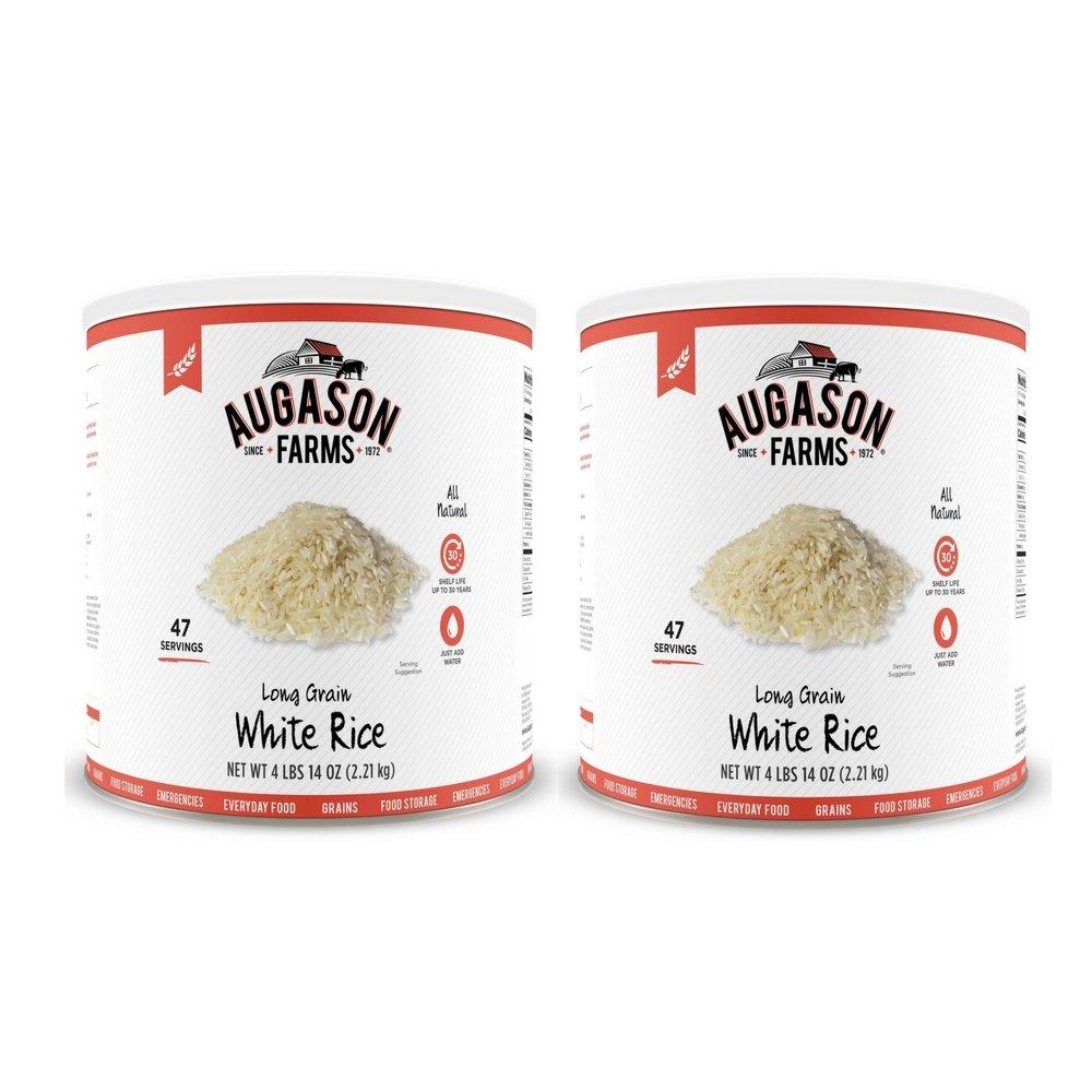 Augason Farms Long Grain White Rice 4 lbs 14 oz No. 10 Can (2 cans)