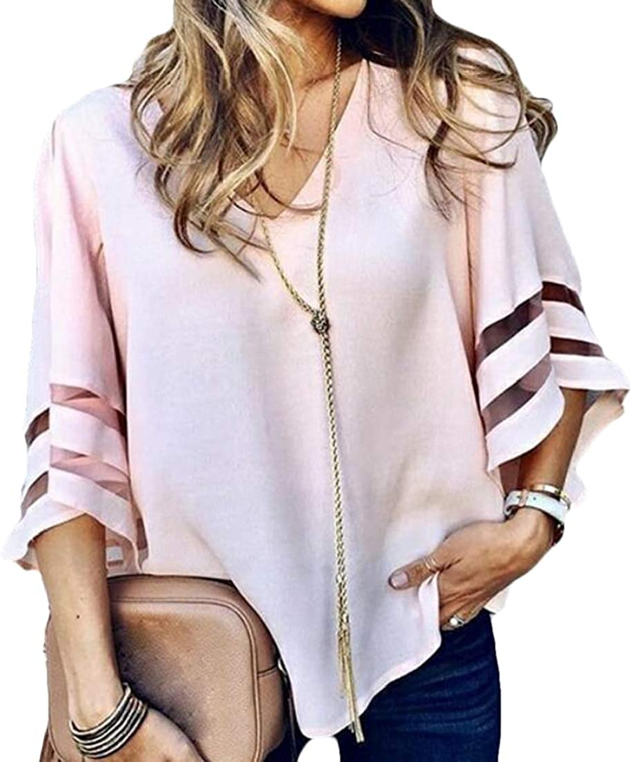 Zantt Women Loose Fit Mesh Stitching V-Neck Trumpet Sleeve T-Shirt Tee Top