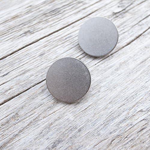 【フラット足付き】メタルシンプルボタン #C601 1穴 21mm C/#HN シルバー 2個セット