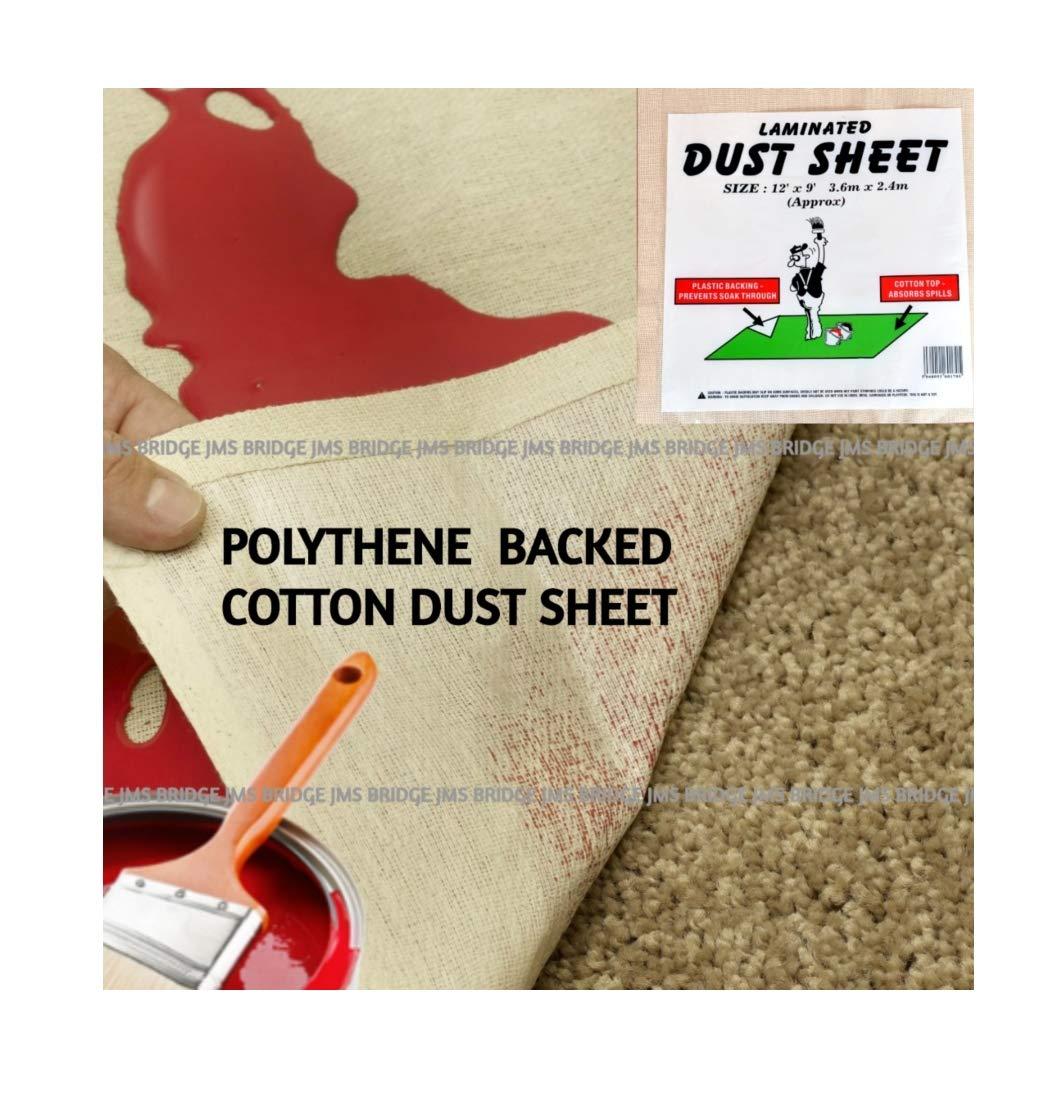 Polythene Backed Laminated Extra Heavy 100% Cotton Twill Dust Sheet Size 12ft x 9ft 100% Waterproof JMS Bridge