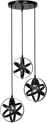 3-Light Black Pendant Lighting Farmhouse Globe Chandelier Rustic Hanging Lighting Fixture for Kitchen Island Dining Room Living Room Bedroom Foyer