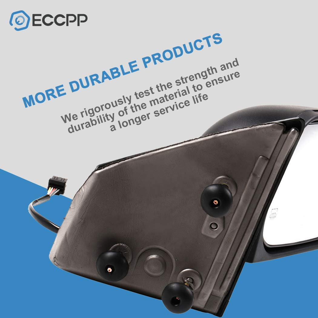 ECCPP Driver Side Mirror Power Heated Rear View Mirrors Black Left Manual Fold fit 2004 2005 2006 2007 2008 2009 Dodge Durango